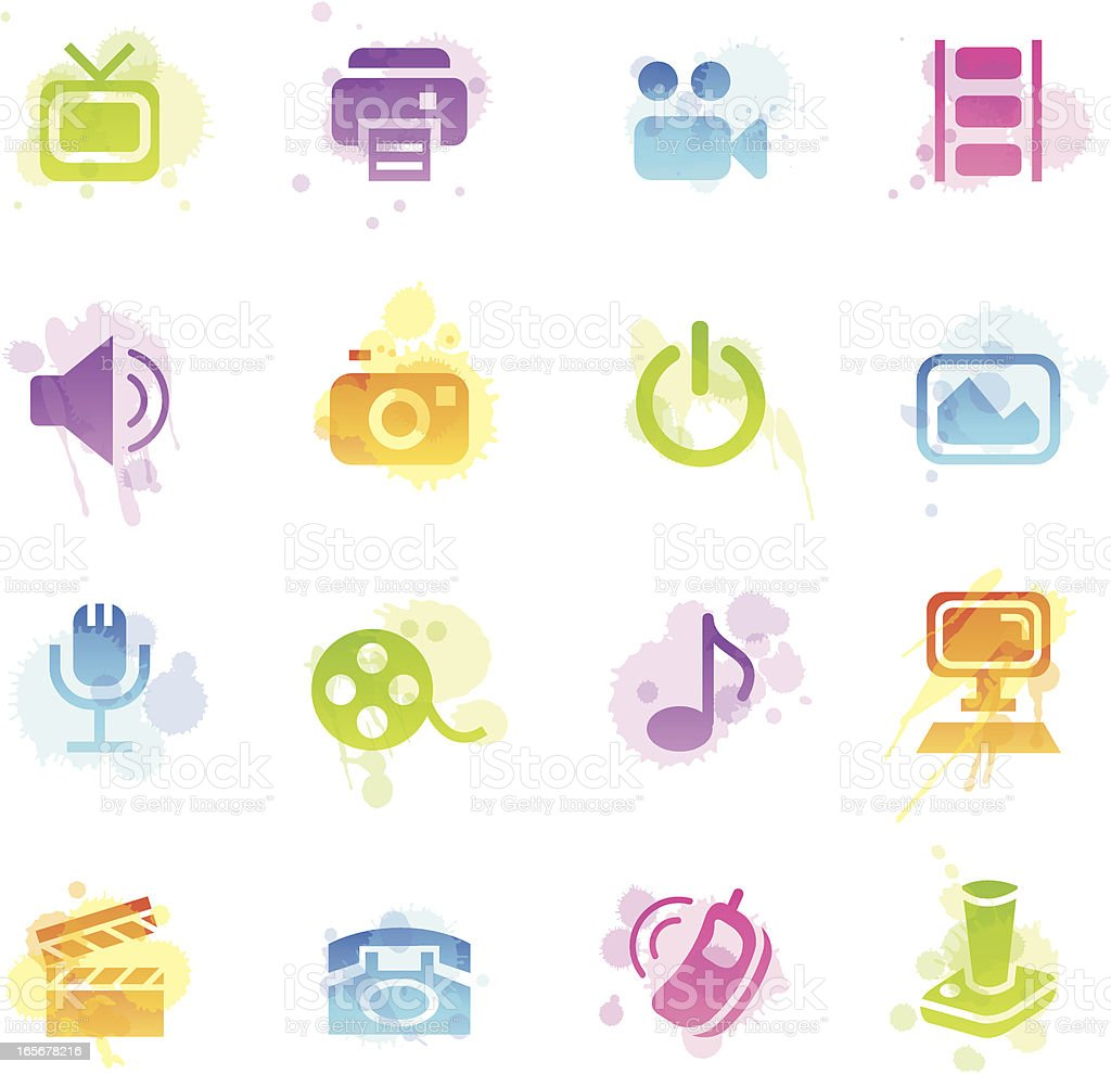 Stains Icons - Media royalty-free stock vector art