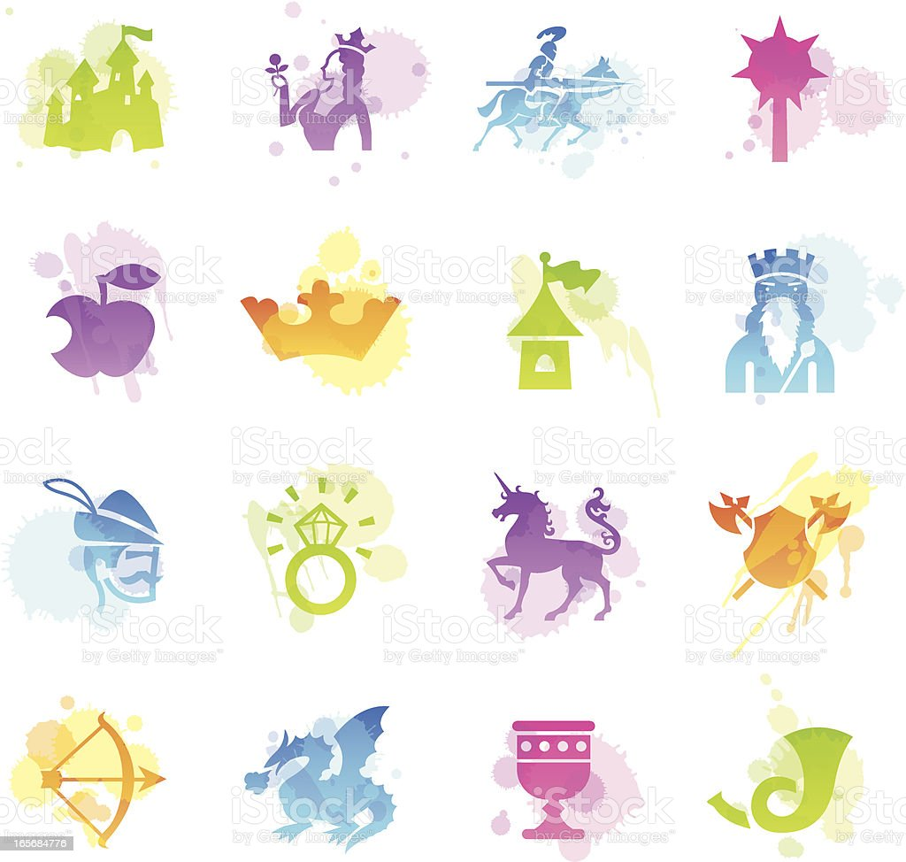 Stains Icons - Medieval Fairytale vector art illustration