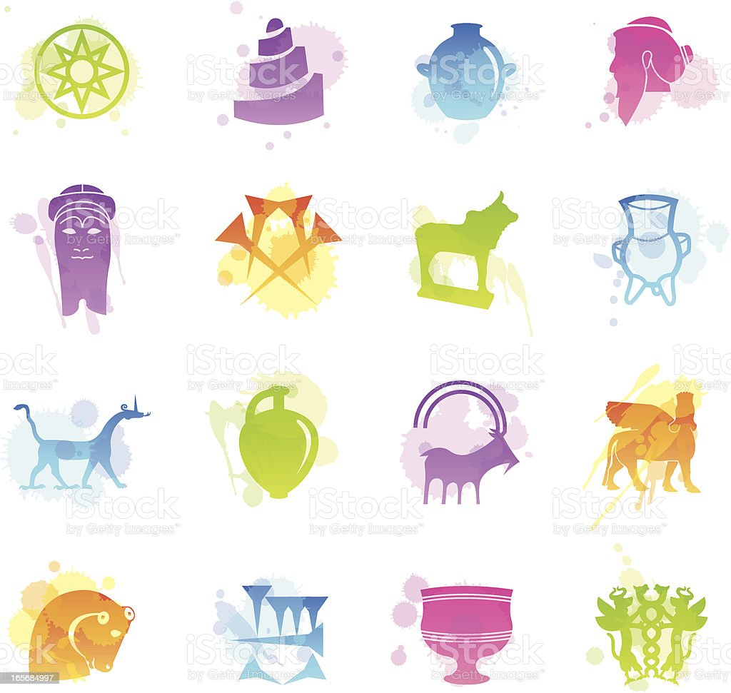 Stains Icons - Mesopotamia vector art illustration