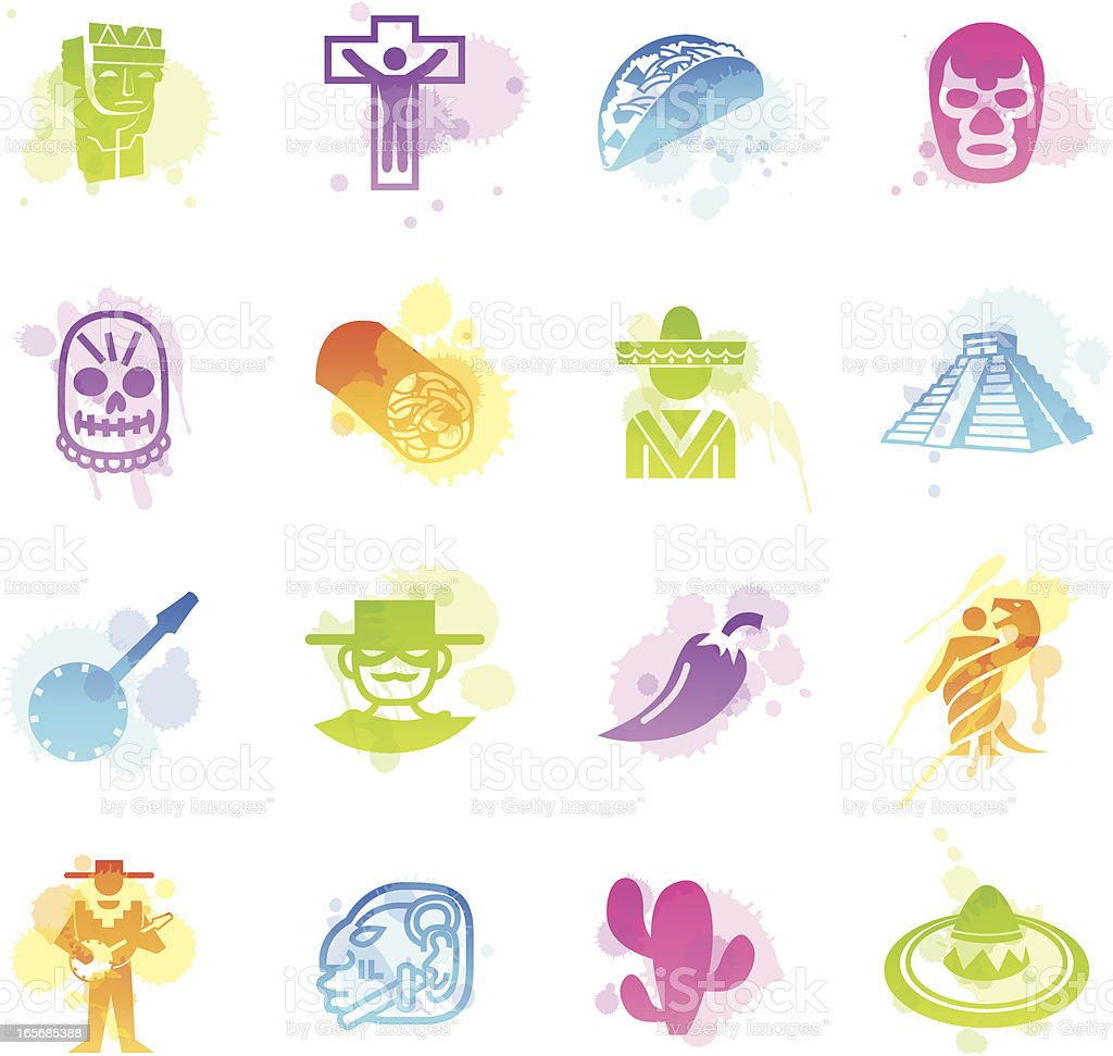 Stains Icons - Mexico royalty-free stock vector art