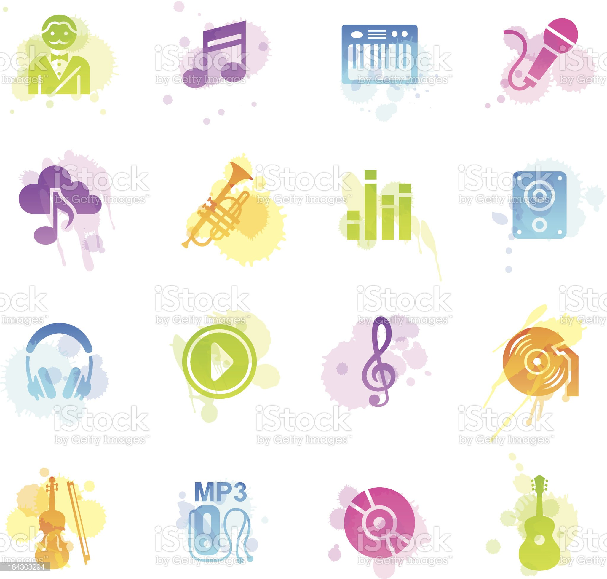Stains Icons - Music royalty-free stock vector art