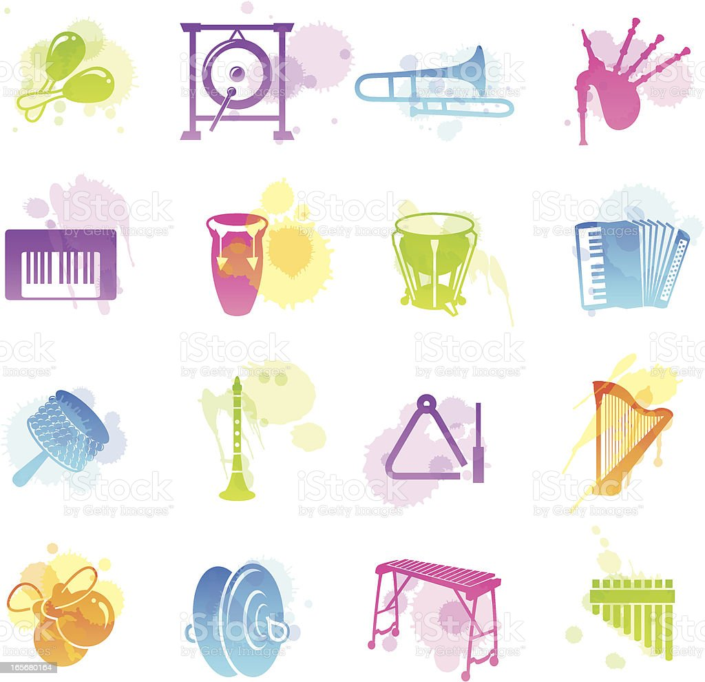 Stains Icons - Musical Instruments vector art illustration