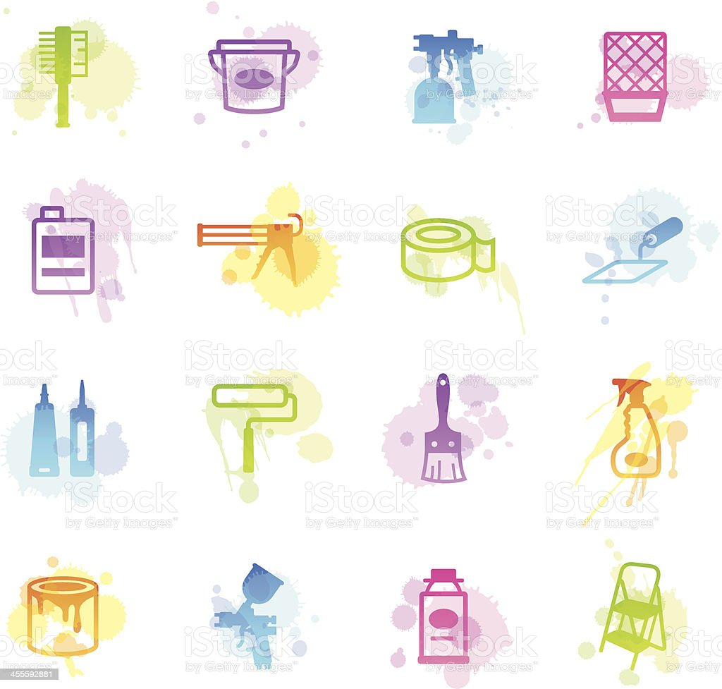 Stains Icons - Painting Tools royalty-free stock vector art