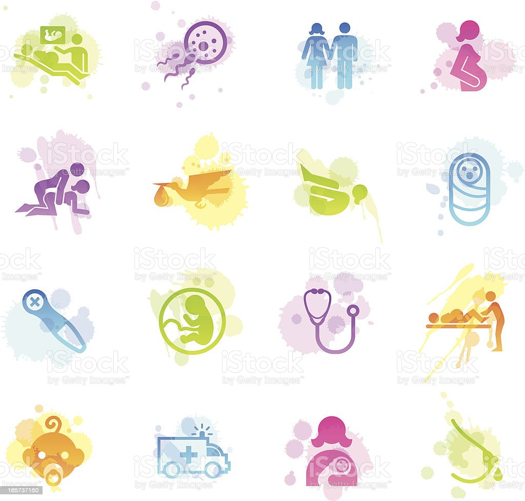 Stains Icons - Pregnancy & Childbirth vector art illustration