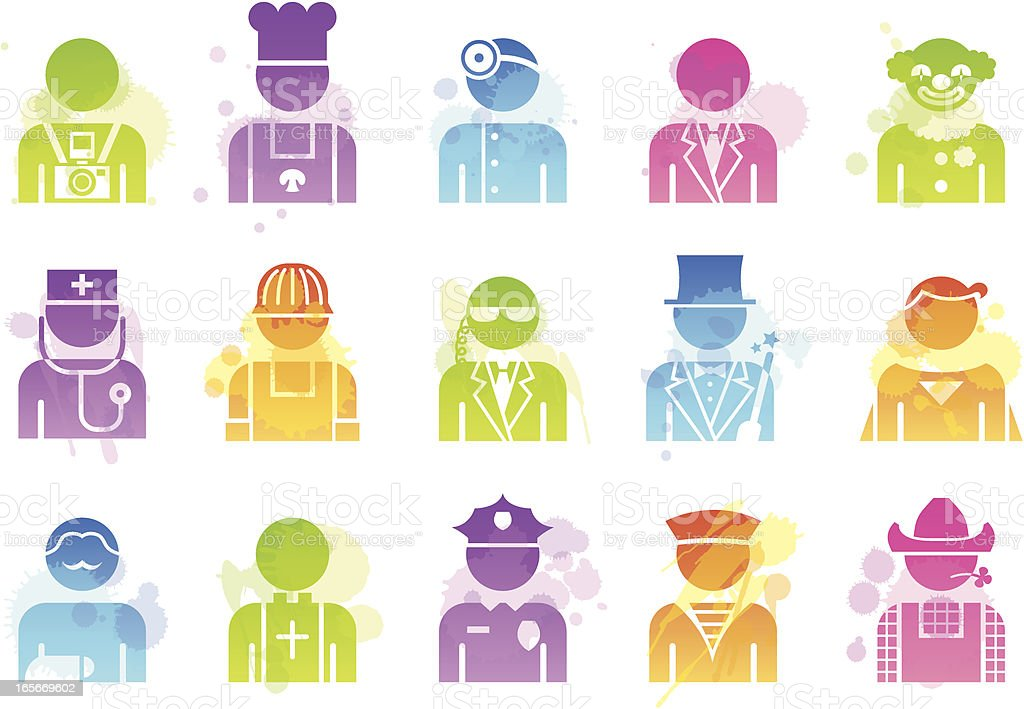 Stains Icons - Professions royalty-free stock vector art