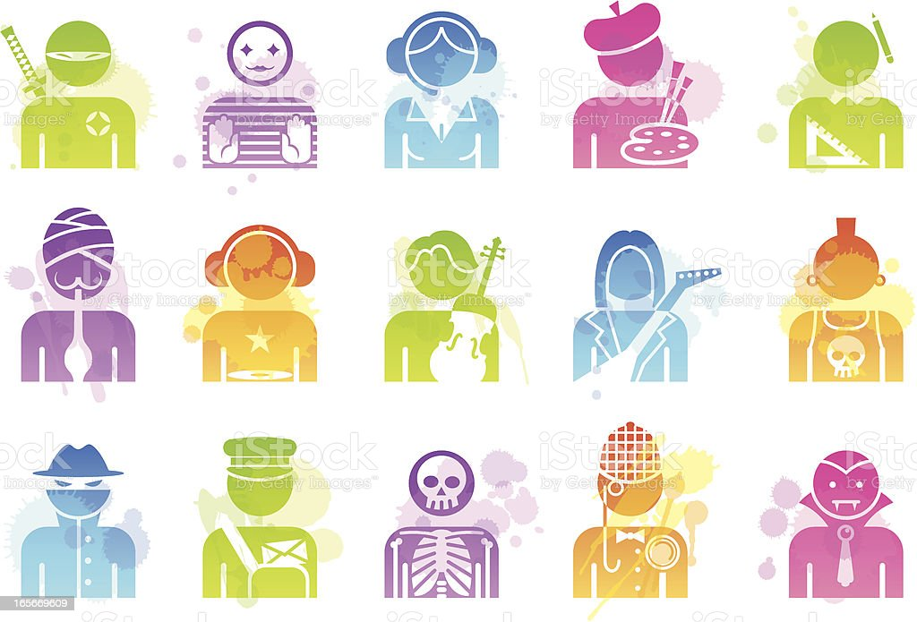 Stains Icons - Professions vector art illustration
