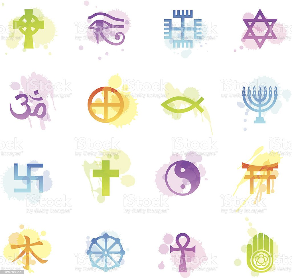 Stains Icons - Religious Symbols vector art illustration