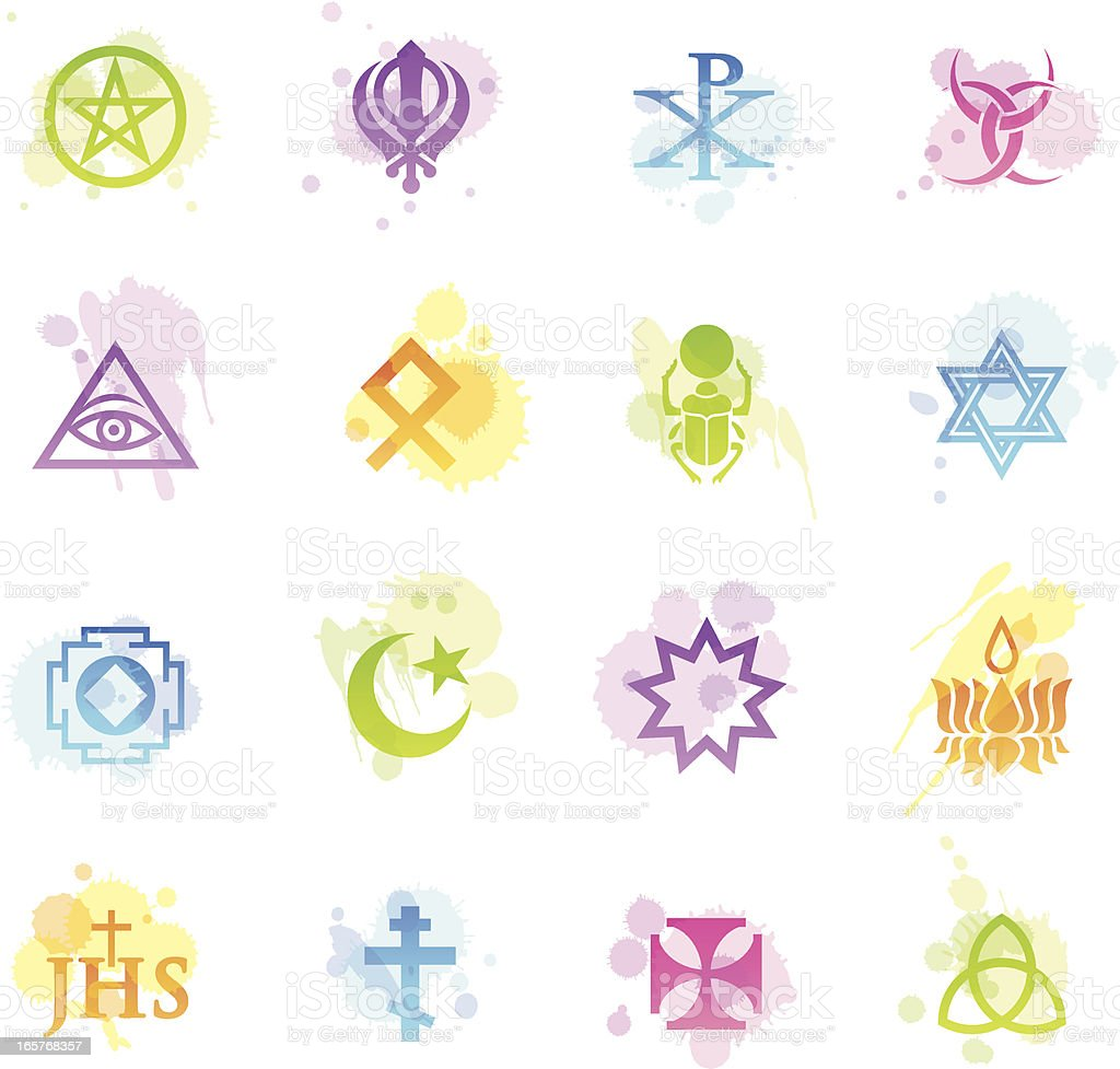 Stains Icons - Religious Symbols royalty-free stock vector art