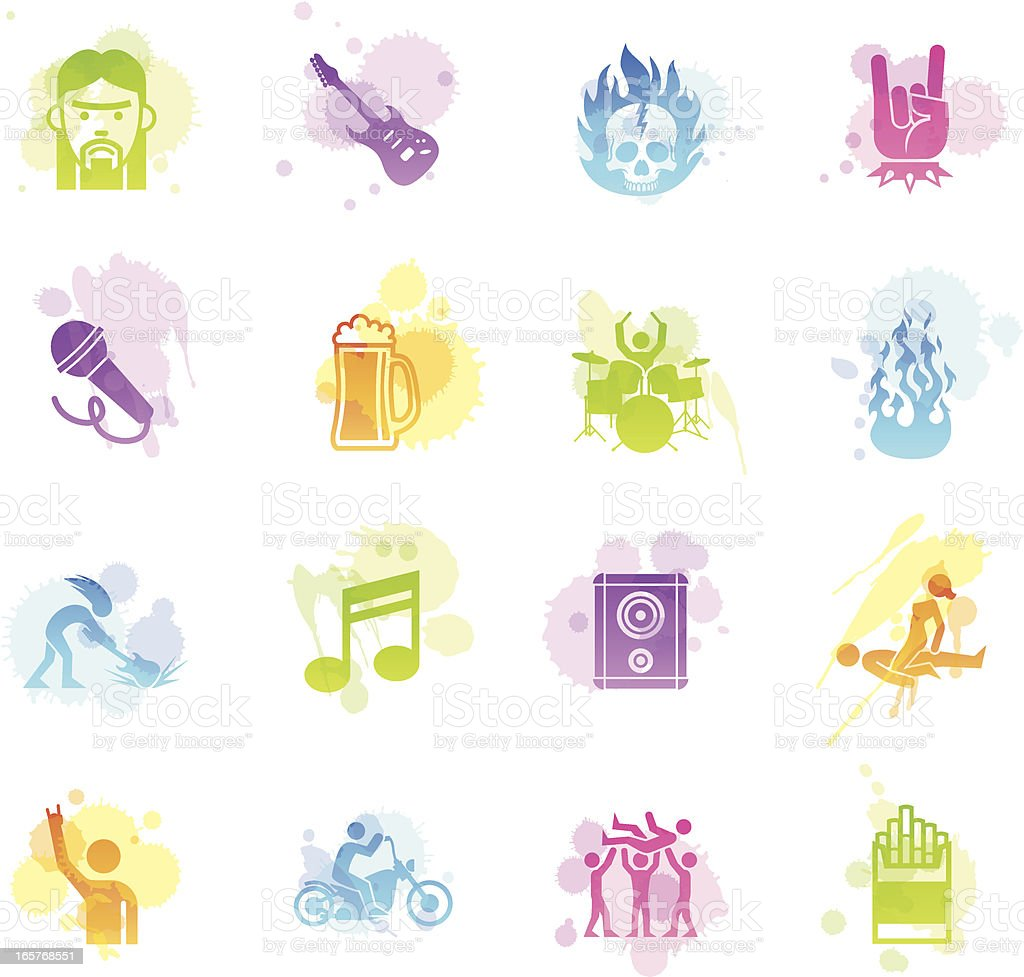 Stains Icons - Rock Star vector art illustration