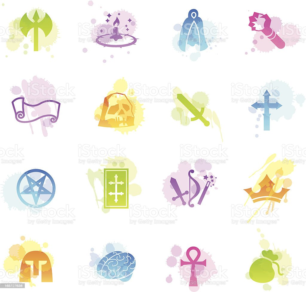 Stains Icons - Role Playing Games royalty-free stock vector art