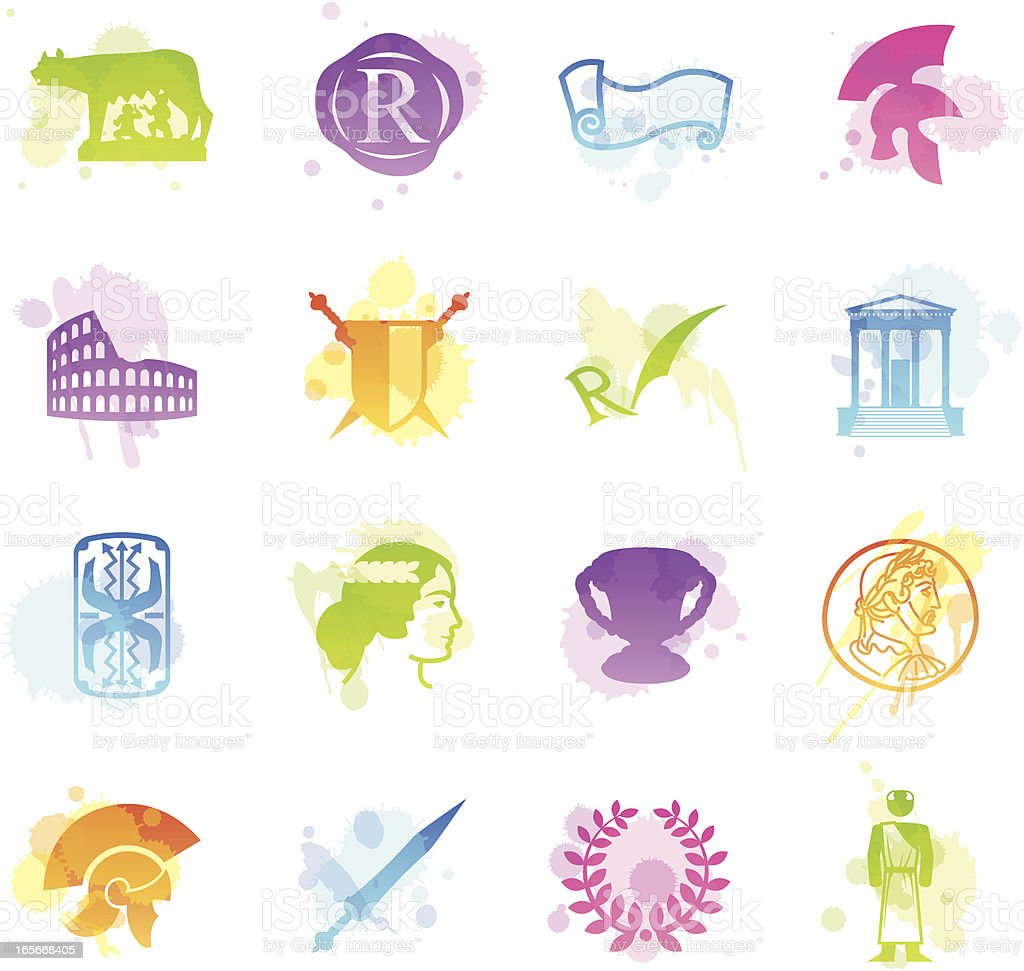 Stains Icons - Roman Empire vector art illustration