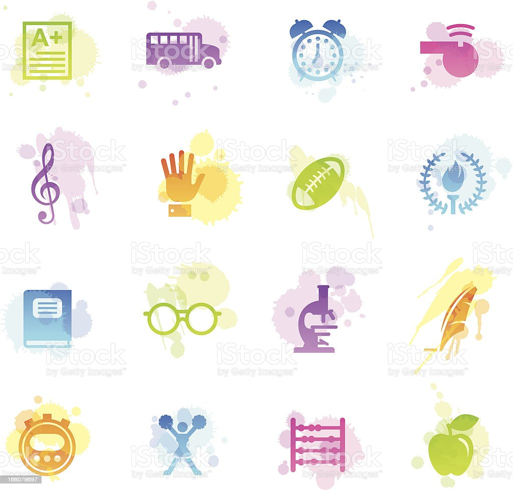 Stains Icons - School vector art illustration