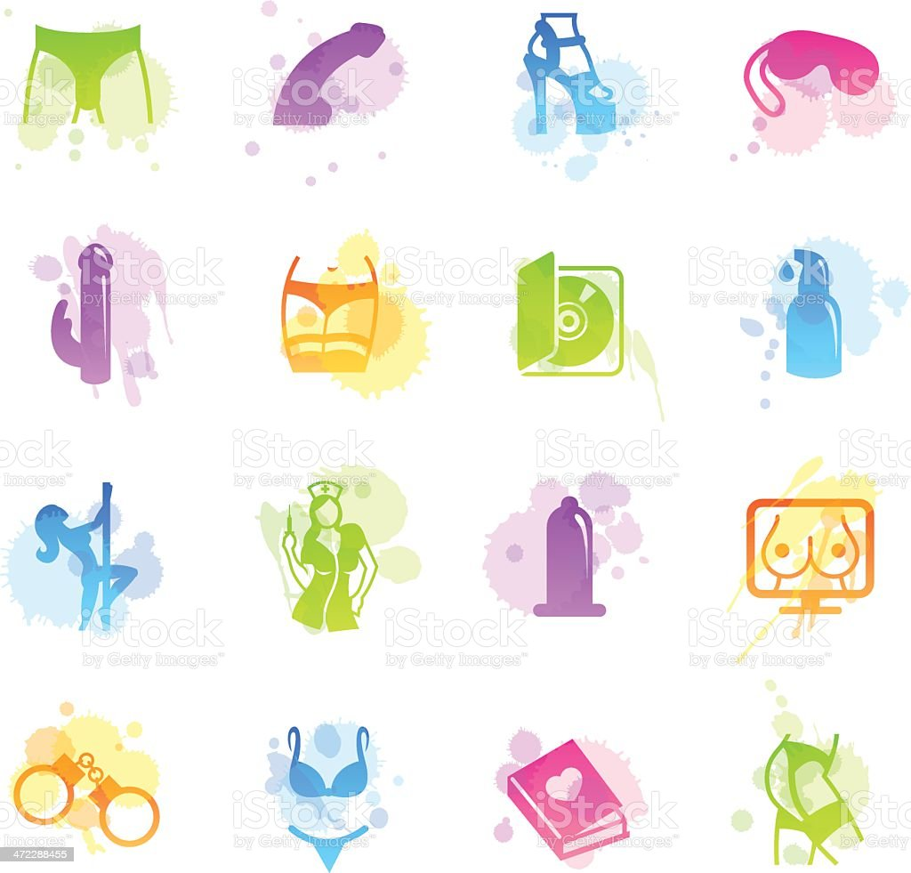 Stains Icons - Sex Industry vector art illustration