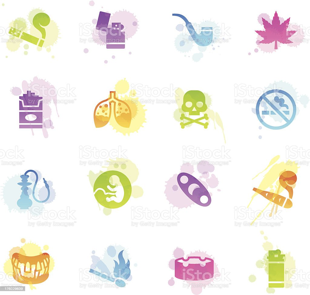 Stains Icons - Smoking royalty-free stock vector art