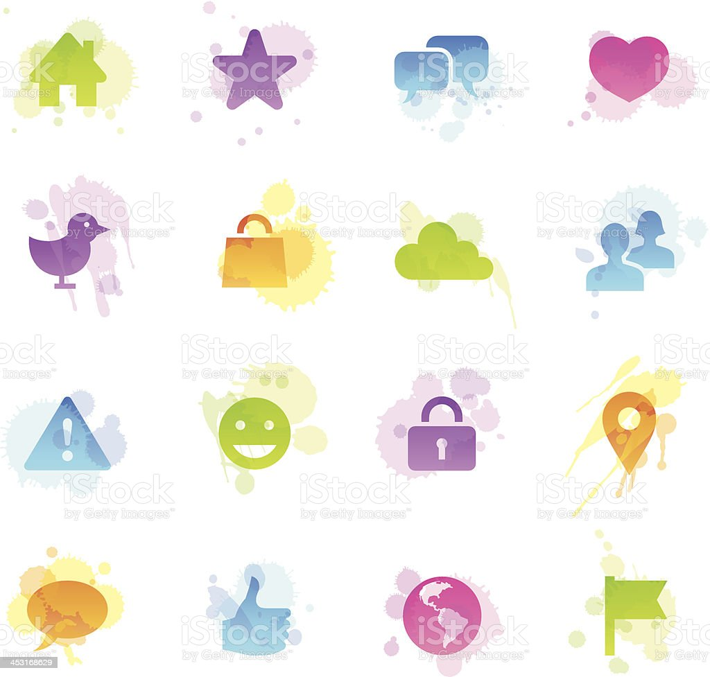 Stains Icons - Social Network royalty-free stock vector art
