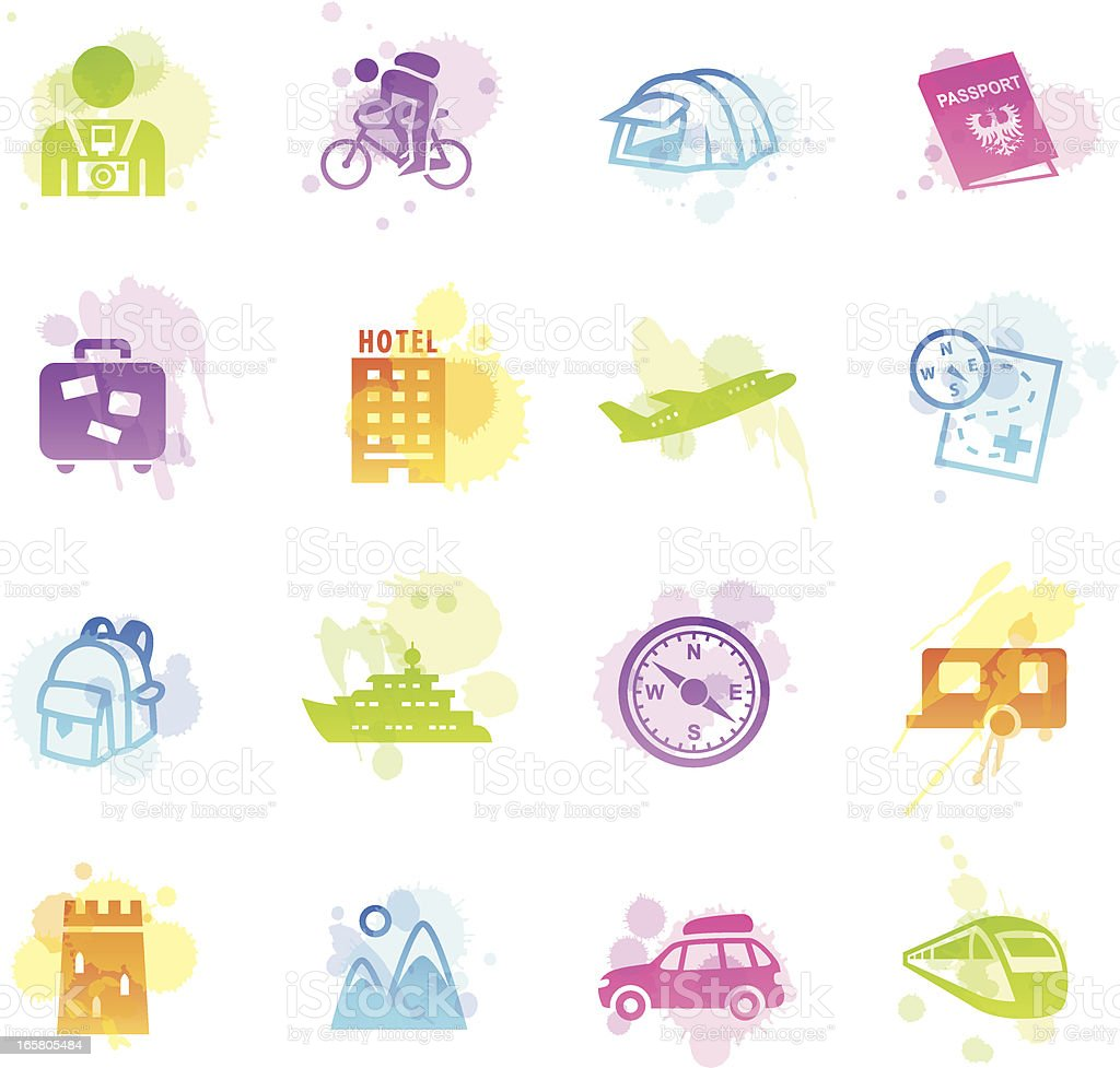 Stains Icons - Tourism royalty-free stock vector art