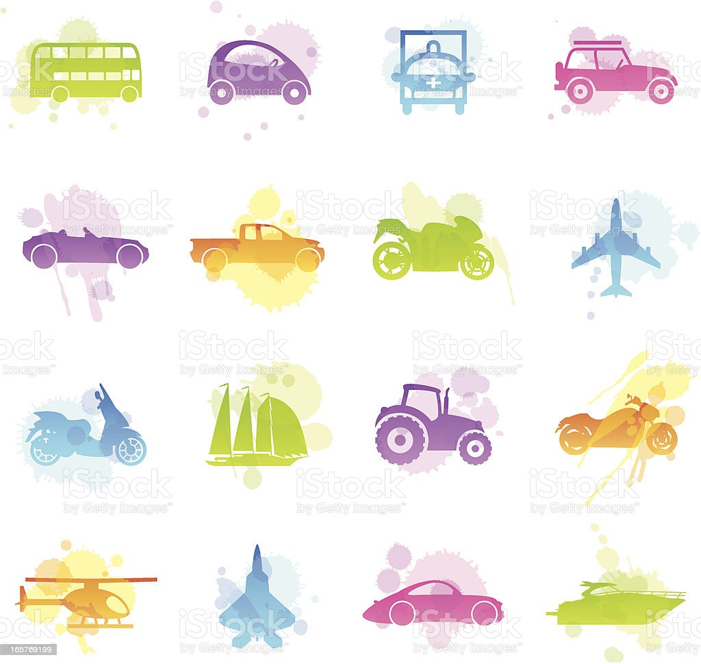 Stains Icons - Transportation royalty-free stock vector art