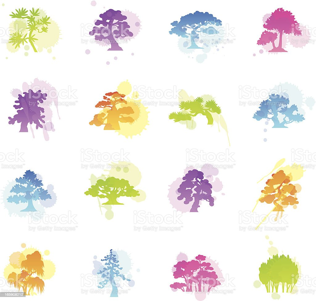 Stains Icons - Trees Species vector art illustration