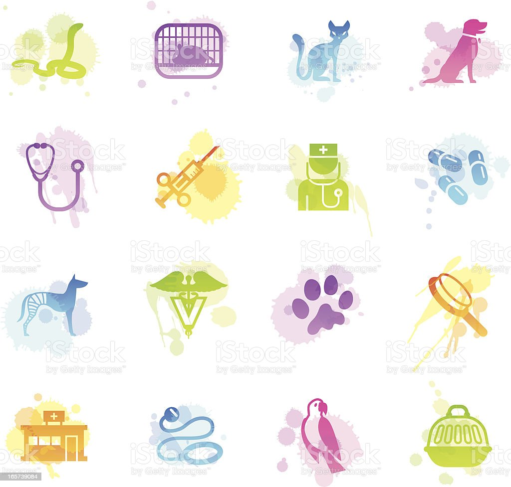 Stains Icons - Veterinary vector art illustration