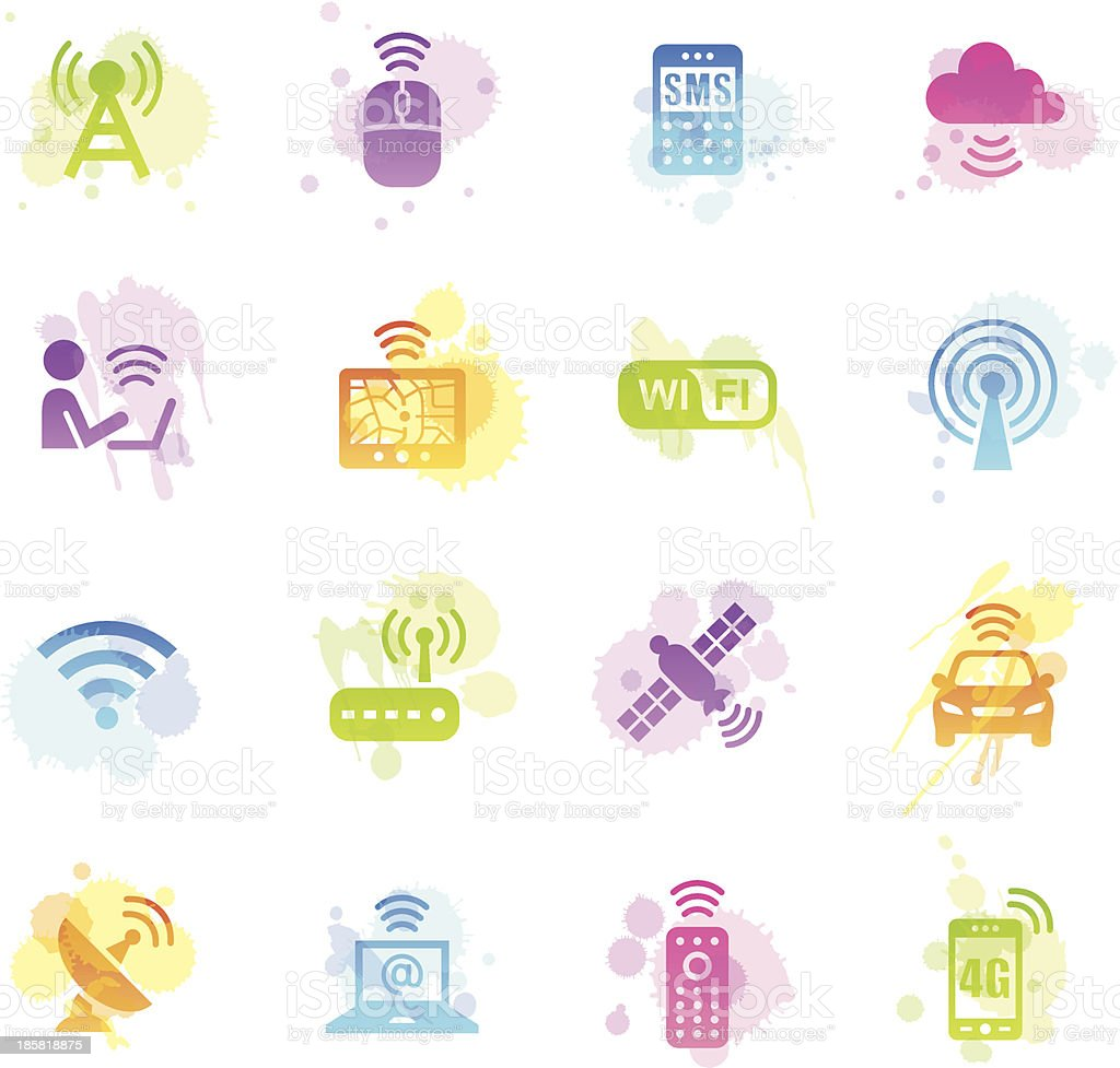 Stains Icons - Wireless Technology vector art illustration