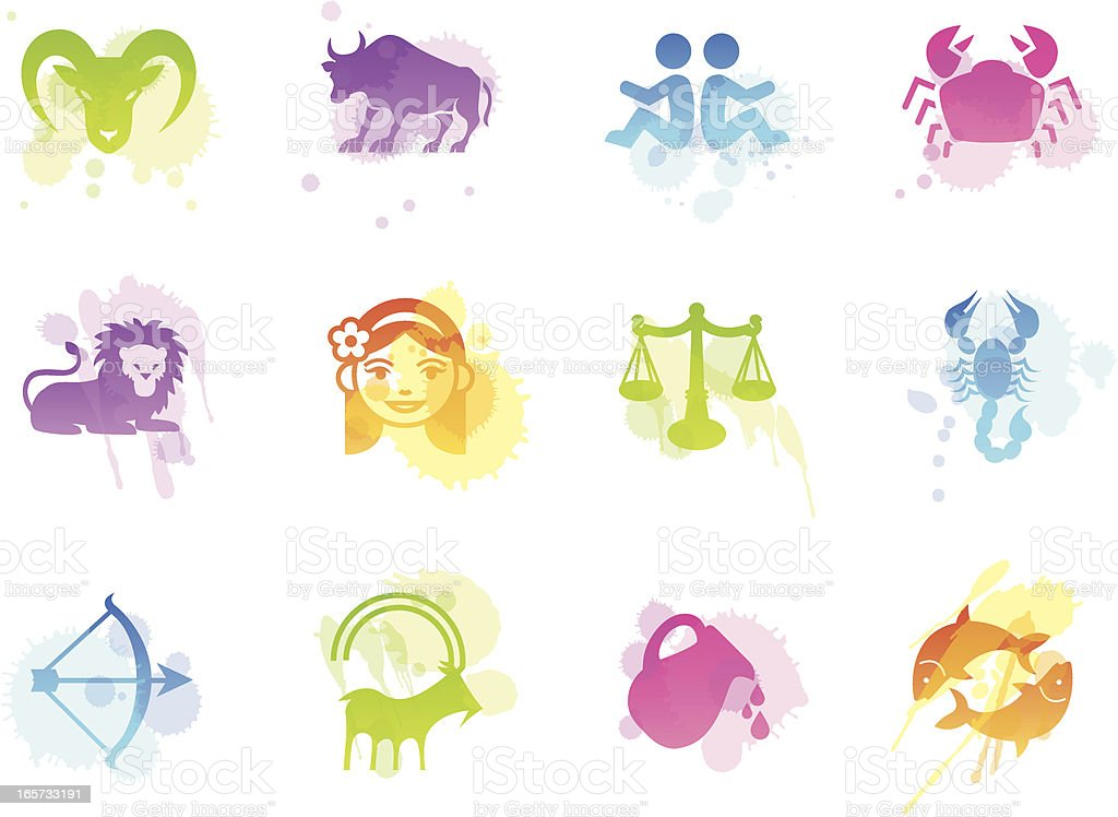 Stains Icons - Zodiac vector art illustration