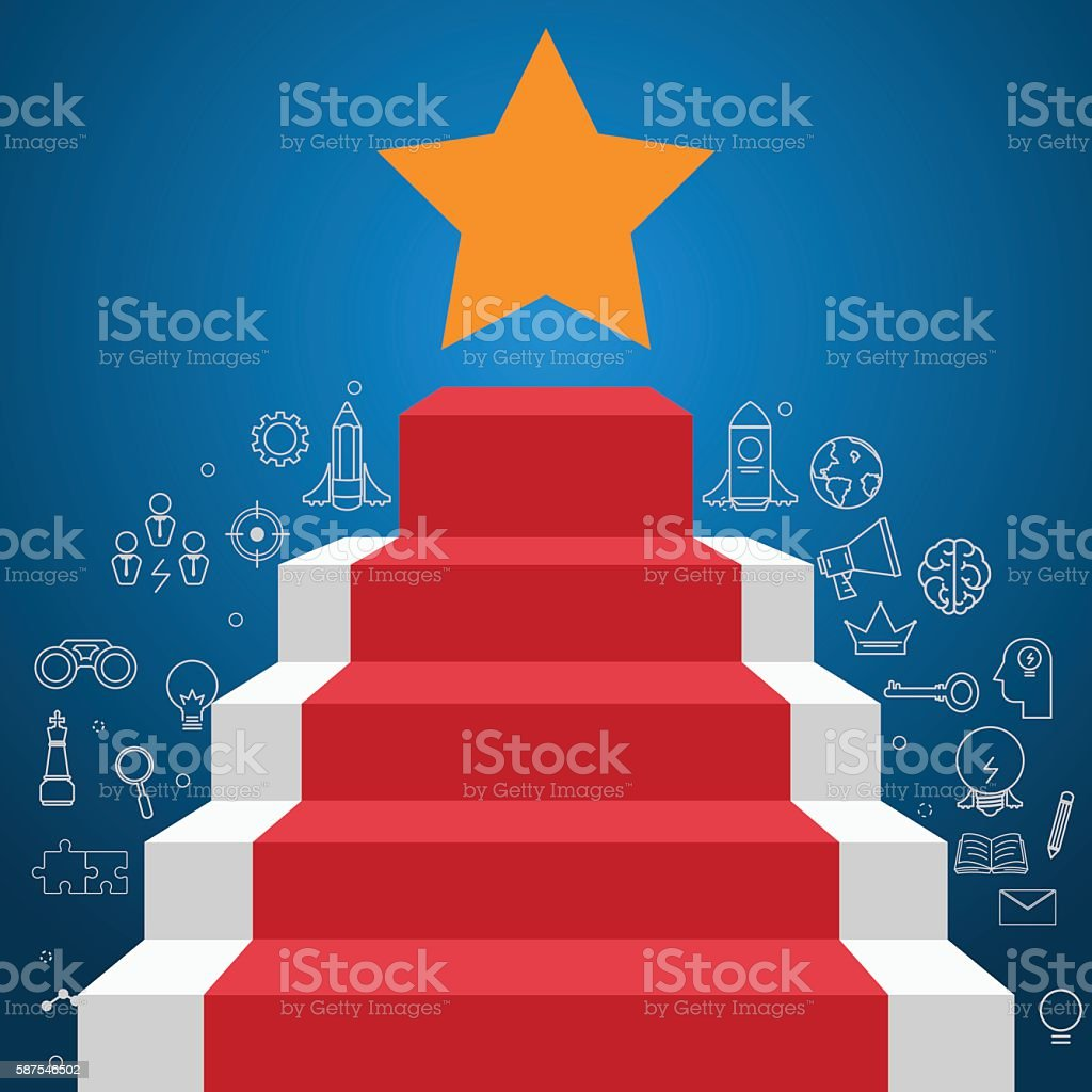 Stair step to star shape with icons and element. vector art illustration