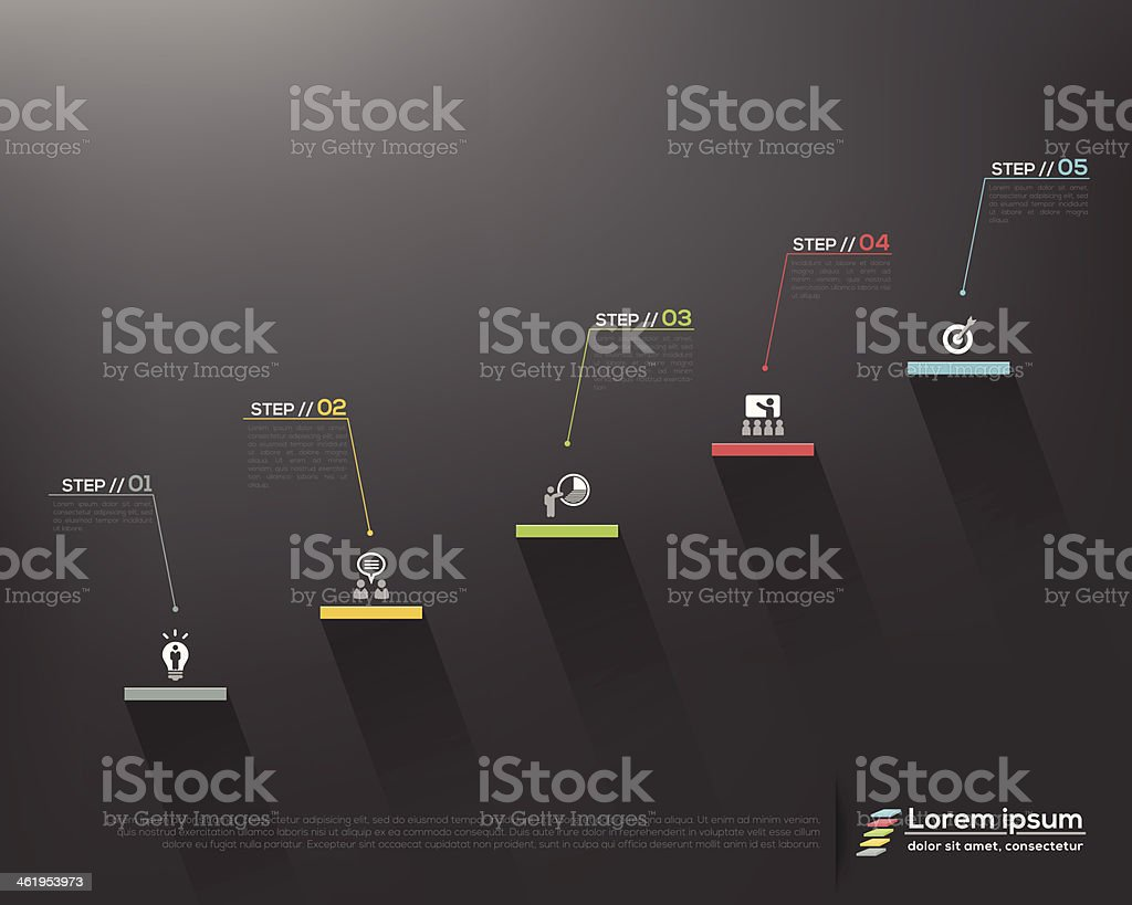 stair steps to success on grey background Vector design template vector art illustration