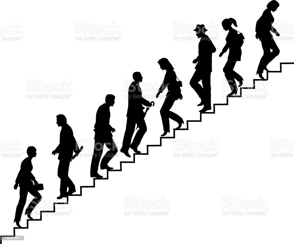 Stair walkers vector art illustration