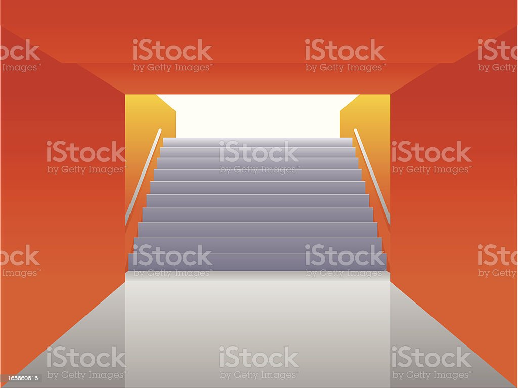 Staircase going up vector art illustration