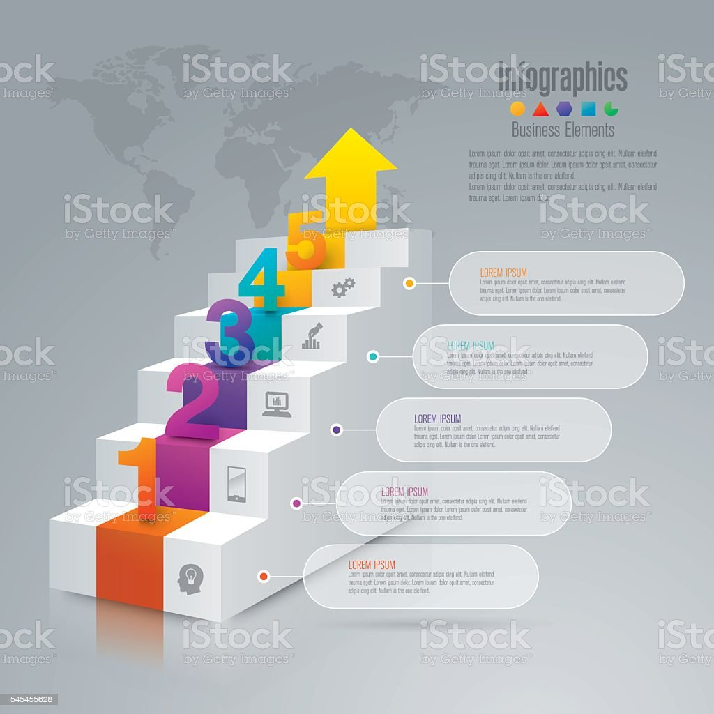 Staircase infographic design vector and business icons. vector art illustration