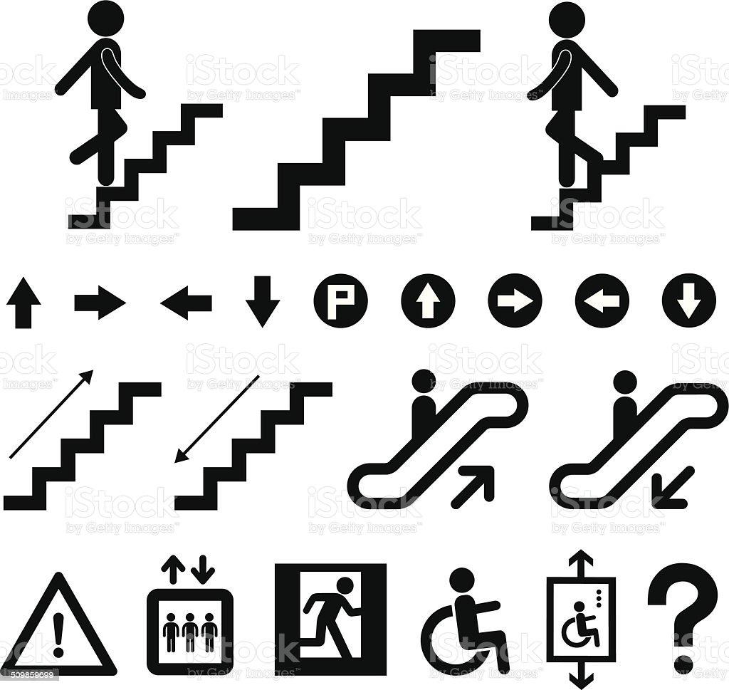staircase symbol set vector art illustration