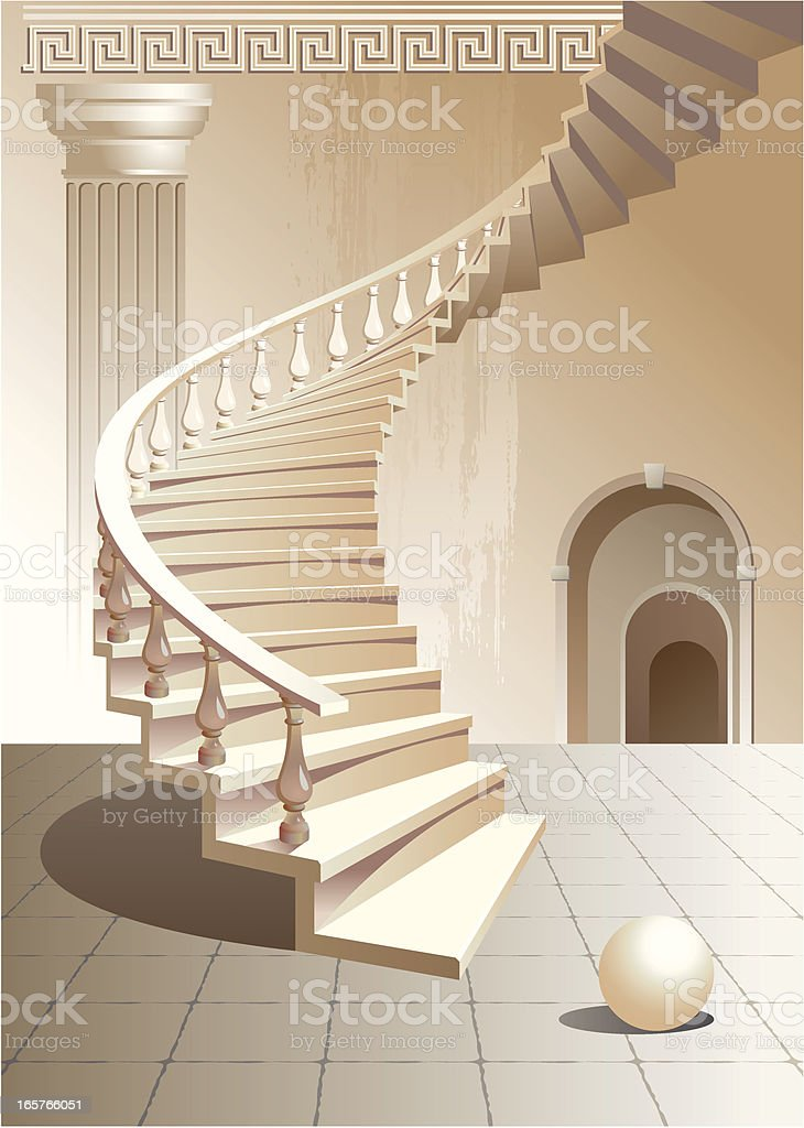 Stairs and a column royalty-free stock vector art