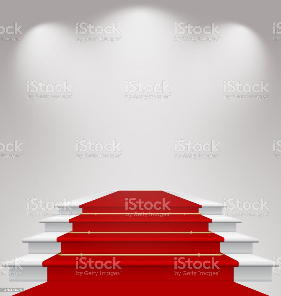 Stairs covered with red carpet, scene illuminated vector art illustration