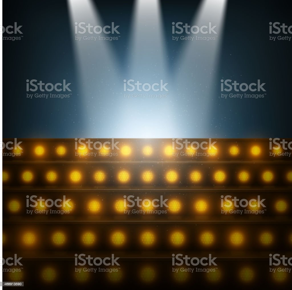 Stairs with Spotlights to Illuminated Stage. vector art illustration