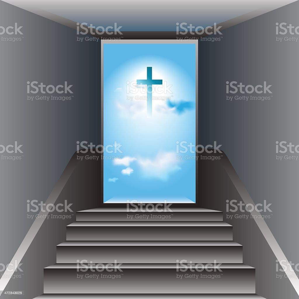 Stairway to Heaven. The Cross of Jesus Christ royalty-free stock vector art