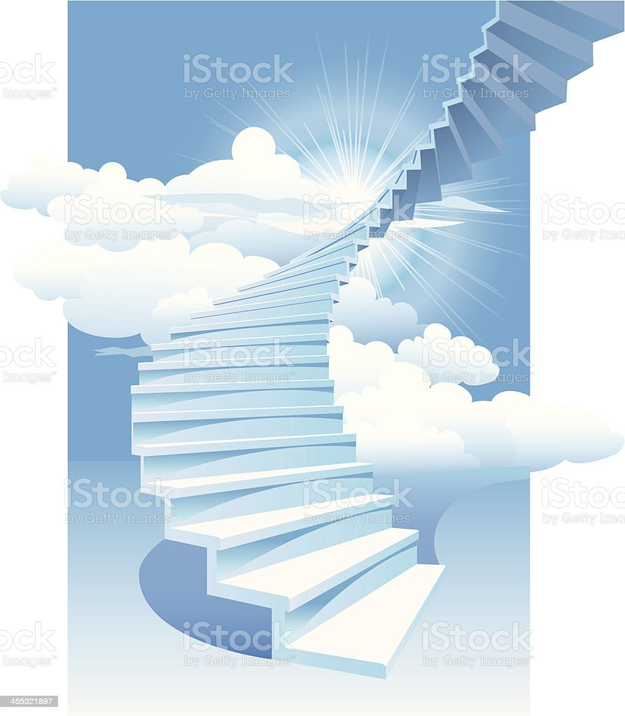 Stairway to heaven vector art illustration