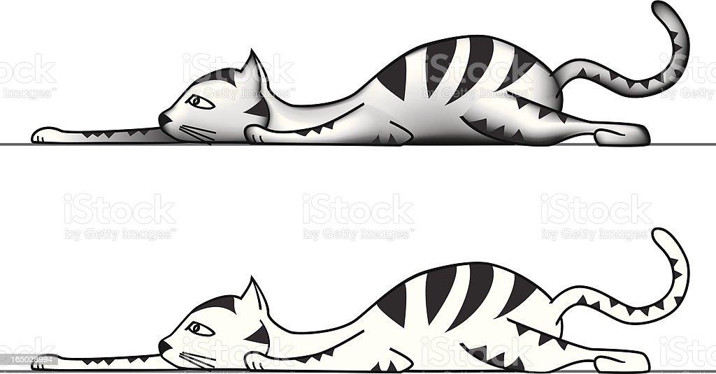 stalking cat vector art illustration