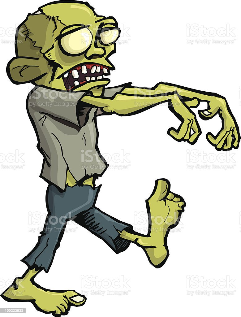 Stalking zombie vector art illustration