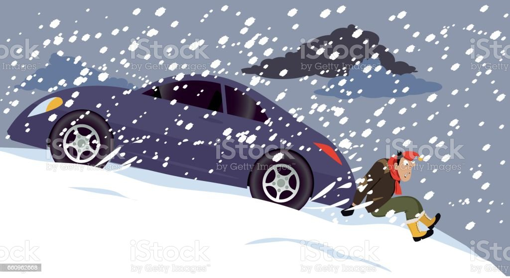 Stalled car vector art illustration