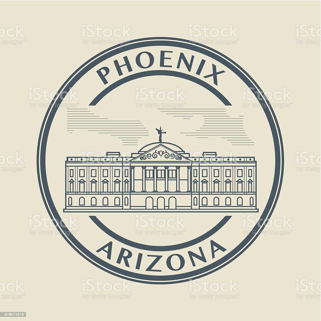 Stamp Arizona, Phoenix vector art illustration