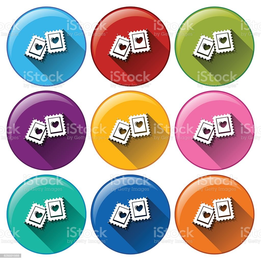 Stamp buttons vector art illustration