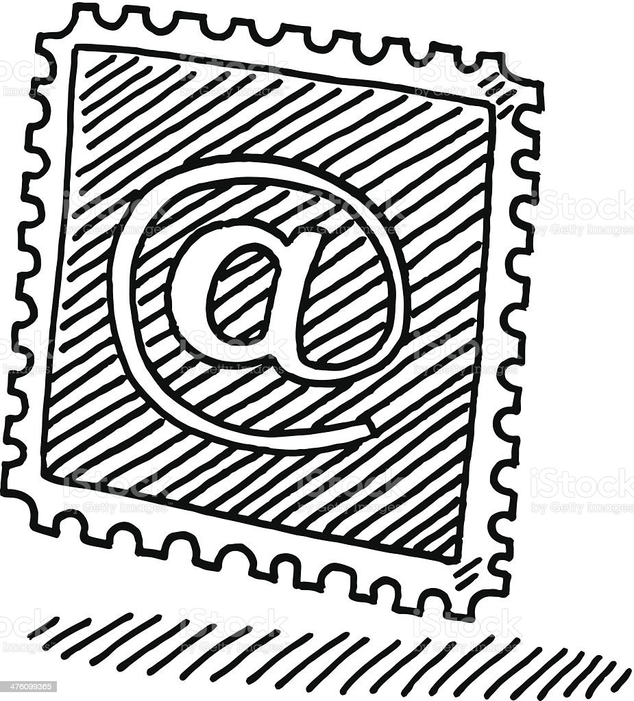 Stamp Email @ Symbol Drawing royalty-free stock vector art