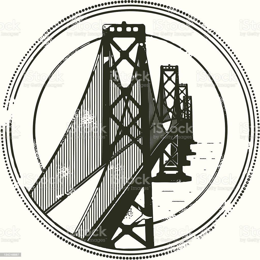 Stamp of Bay Bridge royalty-free stock vector art