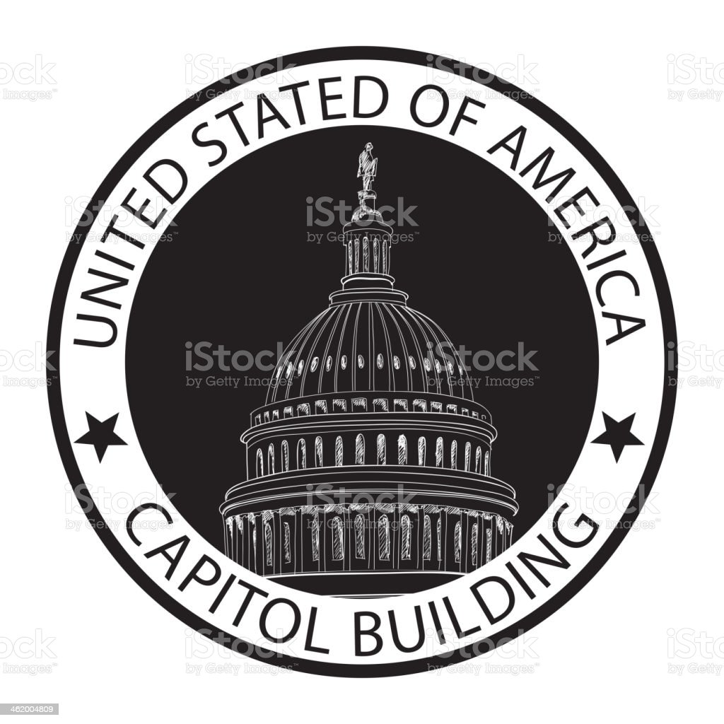 Stamp of Capitol hill, U. S.  Washington, USA. vector art illustration