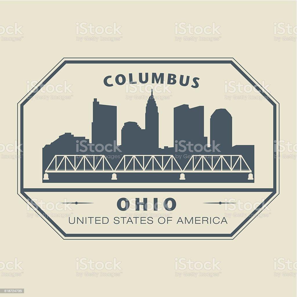 Stamp Ohio, Columbus vector art illustration