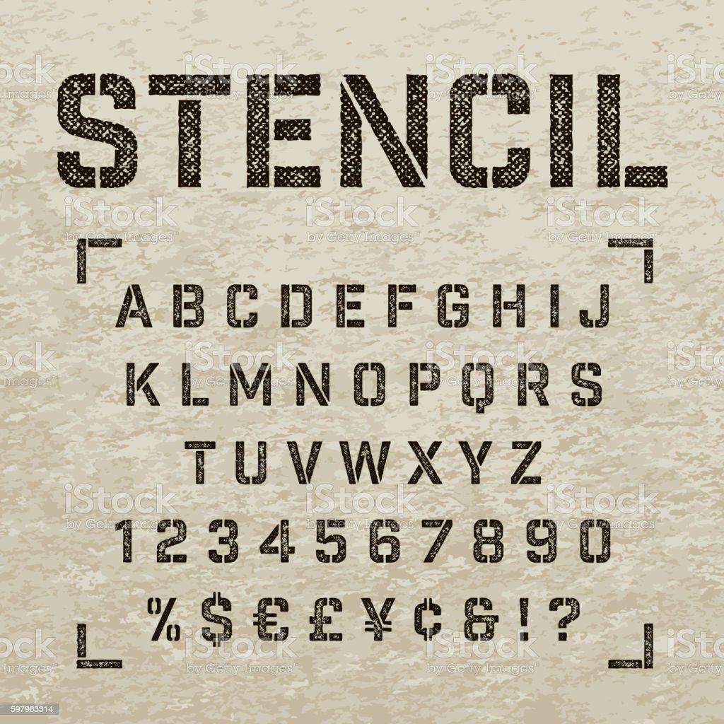Stamp stencil letters, numbers and symbols. Grunge alphabet. vector art illustration