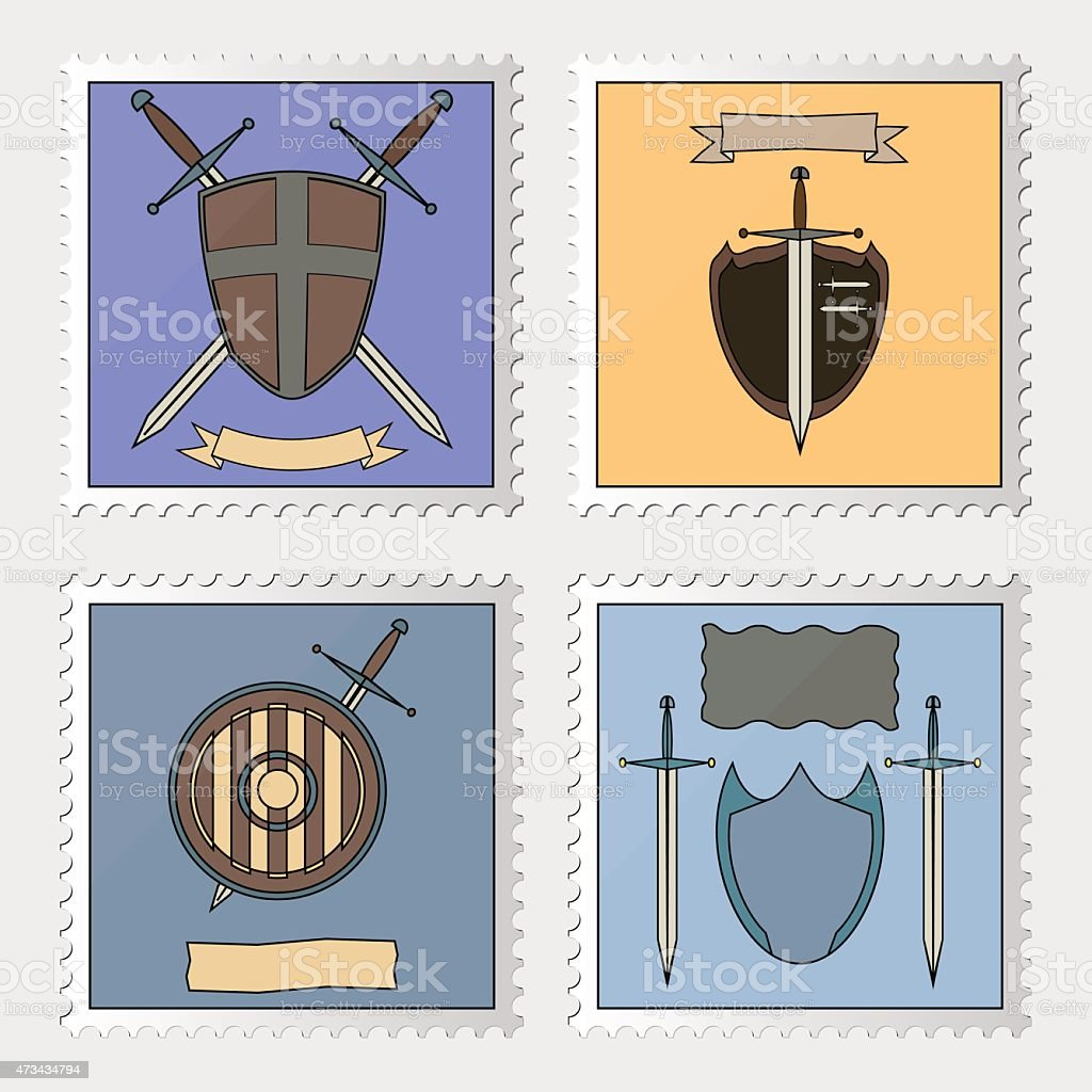 stamp with armoury vector art illustration