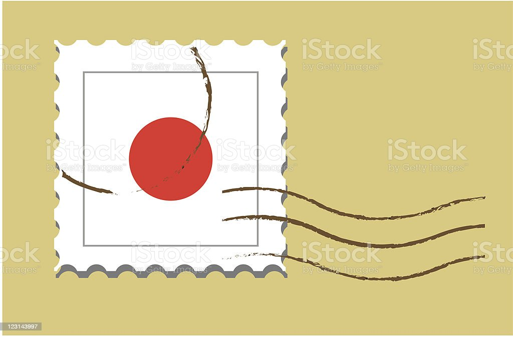 Stamp with Japanese flag royalty-free stock vector art