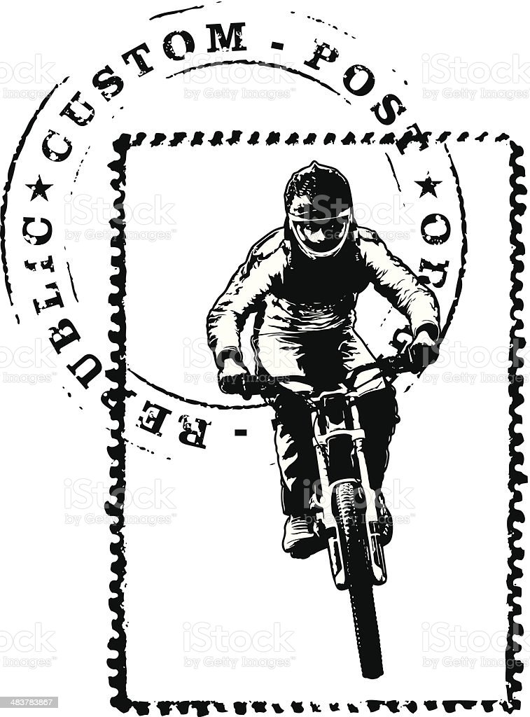 stamp with mark and bike rider vector art illustration