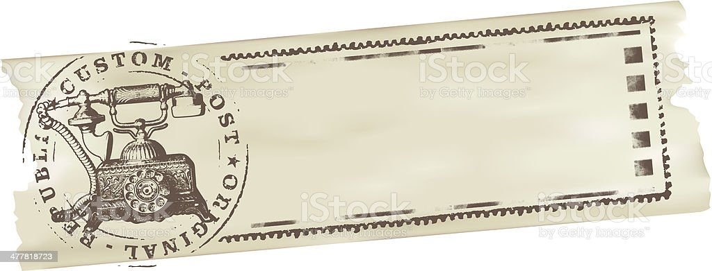 stamp with old telephone royalty-free stock vector art